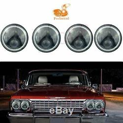 4x 5.75 Halo DRL/Turn Signal LED Projector H4 Headlights Assembly Conversion#11