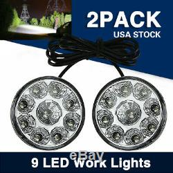 9 LED Work Lights Bulbs Driving Combo Bulbs Car Off-Road DRL Round Lamp 2PACK