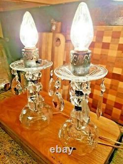 Antique Pair Of Crystal Cut Candelabras with prisms Boudoir Lamps with bulb 14 high