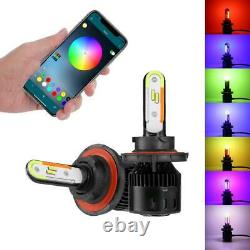 Auxbeam 9008 H13 RGB LED Headlight Bulbs High&Low Kit APP Control Color Changing