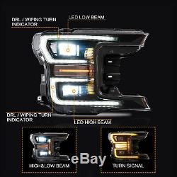 Custom BLACK FULL LED DRL Sequential Reflector Headlights for 18-20 F-150