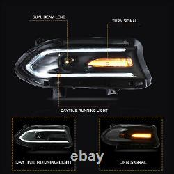 Custom Dual Beam Projector DRL Bar Sequential LED Headlights for 15-20 Charger