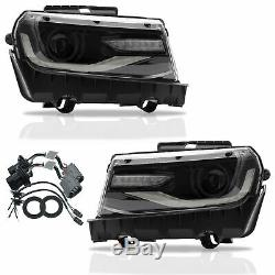 Custom Dual Beam Projector LED Headlights with DRL Sequential for 2014 2015 Camaro