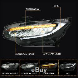 Custom FULL LED Reflector Sequential Headlights with DRL Bar For 16-19 Civic