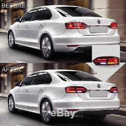 Custom RED CLEAR Fiber Optic LED Taillights with Sequential for 11-14 Jetta MK6