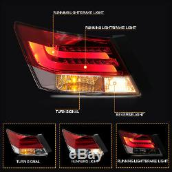 Custom RED CLEAR Fiber Optic Taillights with LED LIGHT for 08-12 Honda Accord