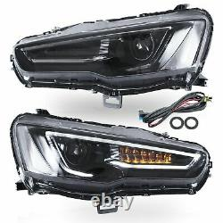 Customized ALL BLACK Headlights+RED SMOKED Taillights for 08-17Mitsubishi Lancer