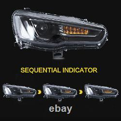 Customized ALL BLACK Headlights+SMOKED Taillights for 08-17 Mitsubishi Lancer