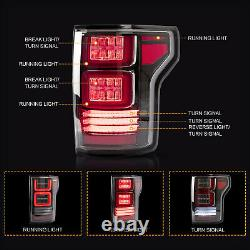 Customized CLEAR Tail Lights with RED Turn Signal for 15-20 Ford F-150