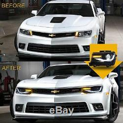 Customized LED Headlights with DRL Sequential Turn Signal for 2014 2015 Camaro