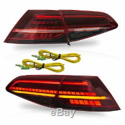 Customized RED CLEAR LED Taillights for 2013-2018 VW Volkswagen Golf 7 R MK7