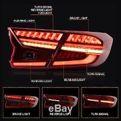 Customized RED CLEAR LED Taillights withDRL Sequential Turn Sig. For 18-20 Accord