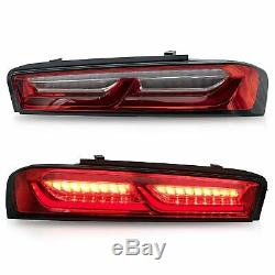Customized RED CLEAR Tail Lights with Sequential Turn Signal for 16-18 Camaro