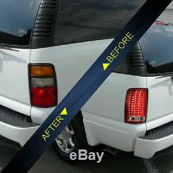 Fiber Optic RED CLEAR LED Taillights For 2000-2007 GMC Yukon Chevry Tahoe