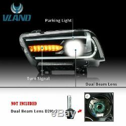 For 2011-14 Dodge Charger LED Projector Headlights With DRL Sequential Indicator