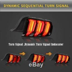 For Ford Mustang Tail Lights 2015-2019 LED Sequential Brake Red Smoke Assembly