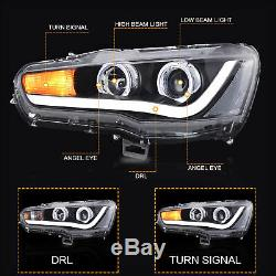 Halo LED Projector Headlights with DRL Single Beam for 2008-2017 Mitsubishi Lancer