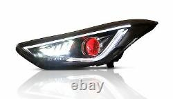 Headlights withDEMON EYES+Red Clear Taillights for Elantra 11-16 Sedan 13-14 Coupe