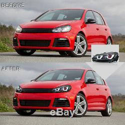 LED Headlight DEMON EYES+RED CLEAR Taillight for 10-13 Golf MK6 12-13 Golf R