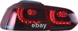 LED Headlights+RED SMOKED Taillights for 10-13 Golf MK6 12-13 Golf R