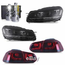 LED Headlights+RED Taillights+H7 LED Bulbs for 10-13 Golf MK6 GTI 12-13 Golf R