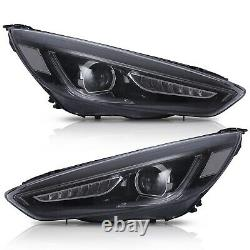LED Headlights withDRL Sequential turn Dual Beam+H7 LED Bulbs for 15-18 Ford Focus