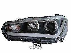 LED Headlights withDRL Single Beam+RED SMOKED Taillights for 2008-2017 Lancer