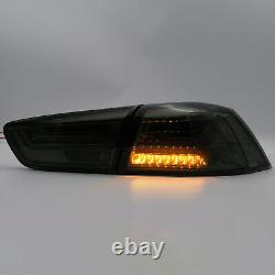 LED Headlights withDRL Single Beam+SMOKED Taillights for 08-17 Mitsubishi Lancer