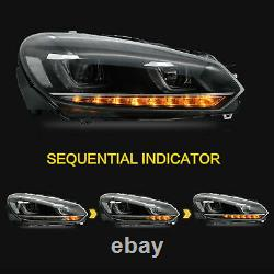 LED Headlights with DRL Sequential Turn Sig. For 10-13 Golf MK6 12-13 Golf R