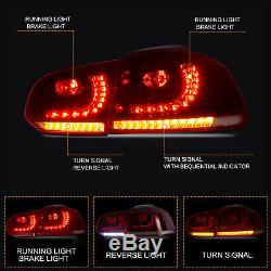 LED Projector Headlights + RED Taillights for 10-13 Golf MK6 GTI 12-13 Golf R