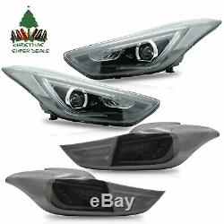 LED Projector Headlights + SMOKE Taillights for Elantra 11-16 Sedan 13-14 Coupe