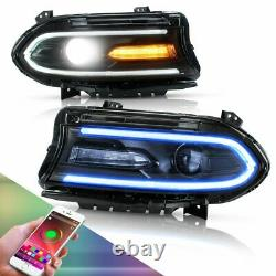 Multicolor RGB LED Dual Beam Headlights withDRL for Dodge Charger 2015-2020