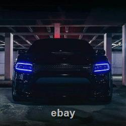 Pair LED DRL Music Rhythm Color Projector Headlights for 15-20 Dodge Charger