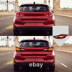 RED CLEAR LED Taillights with Sequential Turn for Hyundai Elantra 2011-2016 Sedan