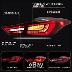 RED CLEAR LED Taillights with Sequential Turn for Hyundai Elantra 2013-2014 Coupe