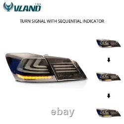 Smoked LED Tail Lights For 2013-2015 Honda Accord WithDRL Sequential Turn Signal