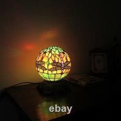 Tiffany Style Globe Dragonfly 1 Bulb Stained Glass Desk Table Lamp 10 High