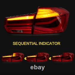 US Stock For 2012-2018 BMW 3er F30 F80 RED Fiber Optic Sequential Tail Lights