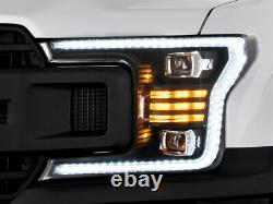 Upgraded Black FULL LED Headlights with Sequential Turn Signal for 18-20 F-150