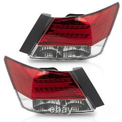 VLAND For 08-12 Honda Accord RED CLEAR Tail Lights with LED RUNNING LIGHT