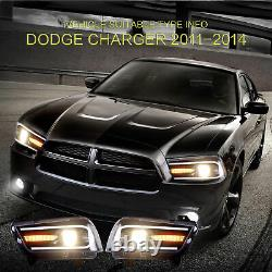 VLAND For Dodge Charger 20112014 LED Sequential Headlight Dual Beam Corner Lamp
