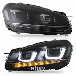 VLAND LED Headlights with Sequential Turn Sig. For 10-14 Golf MK6 12-13 Golf R