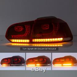 VLAND LED Red Clear Tail Lights Fit For 2010-2014 VW Golf6 MK6 Rear Tail Light