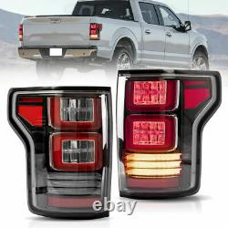 VLAND LED Sequential Clear Taillights Yellow Turn Signal Lamps For 15-20 F-150