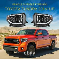 VLAND Projector LED Sequential Headlight Turn Signal for 2014-2020 Toyota Tundra