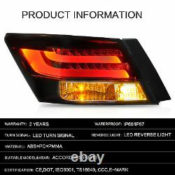 VLAND Smoked Lens LED Taillight Projector Left+Right For 2008-2012 Honda Accord