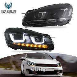 Vland For GOLF MK6 GTI/ 2012-2013 GOLF R LED DRL Projector Headlights Lamps Pair