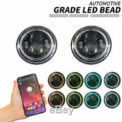 2pc 7 Ronde Rgb Halo Drl Led Turn Signal Projecteur H4 Phares Kit De Conversion