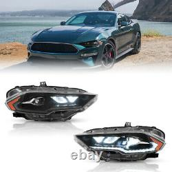 Amber Full Led Phares De Remplacement Direct Pour 2018-2021 Ford Mustang Set
