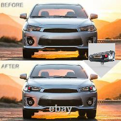 Customized Led All Black Headlights With Demon Eyes For 08-17 Lancer